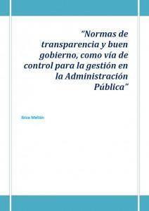 Normas de transparencia y buen gobierno, como vía de control para la gestión en la Administración Pública