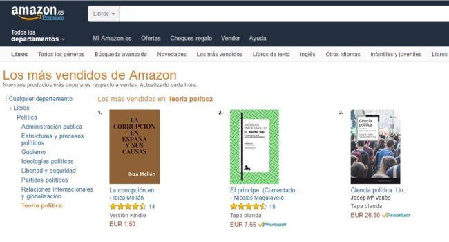 Nº 1 en Amazon La corrupción en España y sus causas, de Ibiza Melián